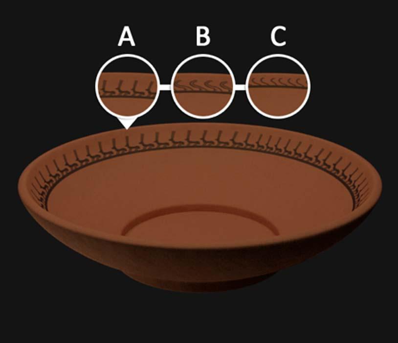 Las representaciones estilísticas de los artículos de Togau encontrados en Mehrgarh muestran cómo la gente de Mehrgarh se movió hacia un modelo de producción en masa para sus artículos de cerámica. (Arun Reginald / CC BY SA 4.0)