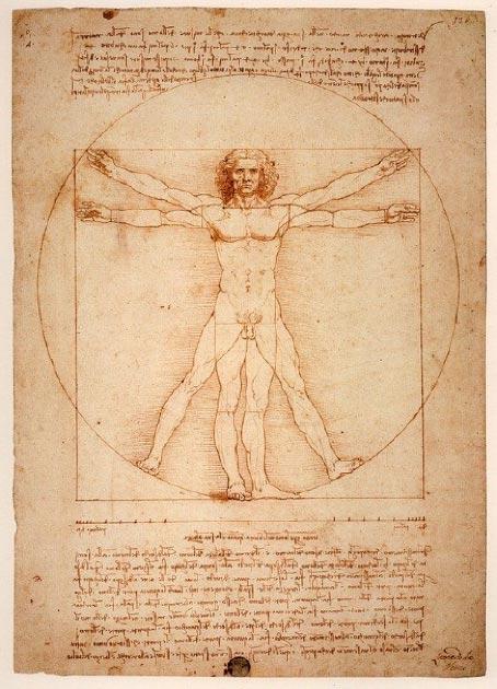 Leonardo Da Vinci, L'Uomo Vitruviano (Hombre de Vitruvio), originalmente conocido como Le proporzioni del corpo umano secondo Vitruvio, (Las proporciones del cuerpo humano según Vitruvio), c. 1490. (Licencia de Pixabay)