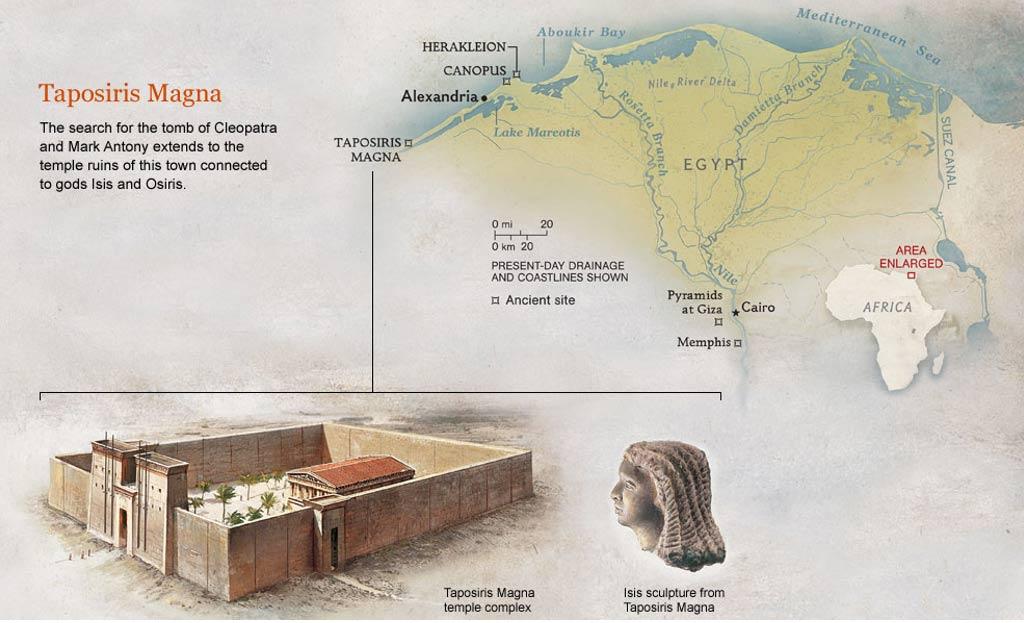 Localización geográfica de Taposiris Magna, dibujo del complejo del templo y escultura de Isis. (Ancient Code)