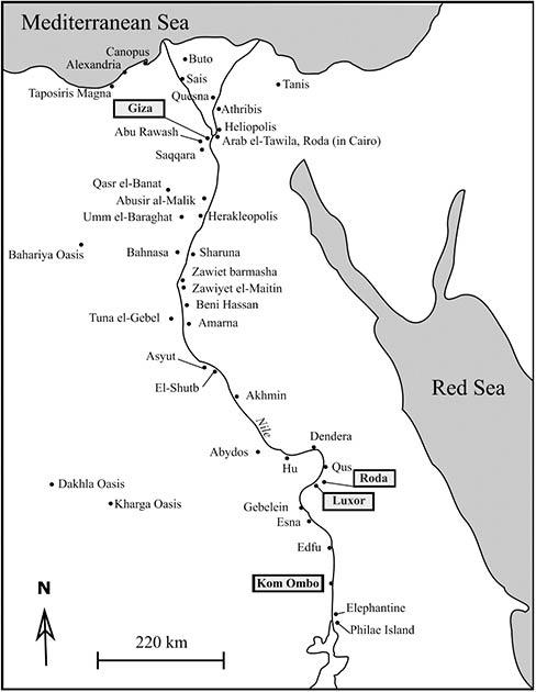 La ubicación de los cementerios de aves en Egipto. (Linglin, M. et. Al. / Nature)