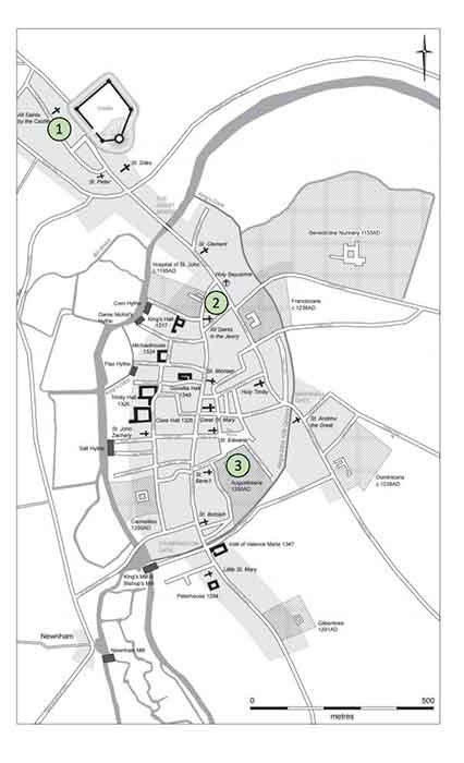 Las ubicaciones de los tres cementerios utilizados en el estudio de huesos rotos de Cambridge: 1. The All Saints por Castle Parish. 2. El Hospital de San Juan Evangelista. 3. El convento agustino de Cambridge (Universidad de Cambridge)