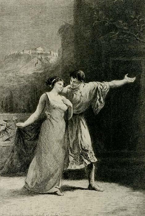 Lisístrata, grabado original de Frédéric-Auguste Laguillermie, publicado en Almanach des spectacles, París, Jouaust / Librairie des bibliophiles - Flammarion succ. ( Dominio público )