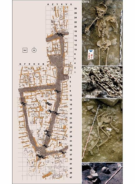 Un mapa de donde fueron encontradas las víctimas en La Hoya, junto con fotos de algunas de ellas. (A. Llanos, modificado por J. Ordoño / Antiquity Publications Ltd)