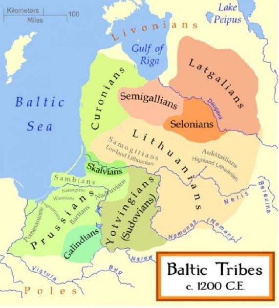Mapa que muestra el territorio de los yotvingios y otras tribus bálticas c. 1200. (MapMaster / CC BY-SA 3.0 )