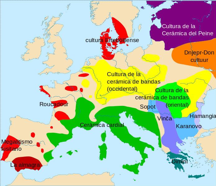 Mapa de Europa en el que aparecen algunas de las diferentes culturas del Neolítico, ca. 4500-4000 a. C.: (Wikimedia Commons)