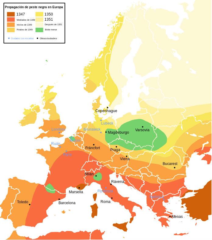 Incidencia de la epidemia de Peste Negra de mediados del siglo XIV en Europa (Wikimedia Commons)