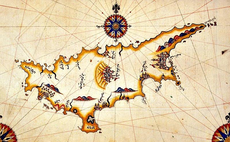 Mapa de Chipre confeccionado en el siglo XVI por el cartógrafo otomano Piri Reis. (Public Domain)