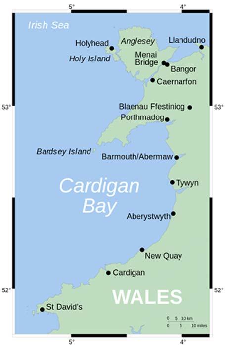 Mapa que muestra la posición de Cardigan Bay frente a la ubicación de la costa oeste de Gales del reino hundido, Cantre'r Gwaelod. (Wereon / Dominio Público)