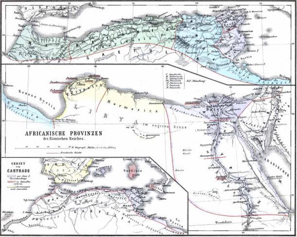 Mapa que muestra las provincias africanas del Imperio Romano, incluida Numidia. (Dominio público)