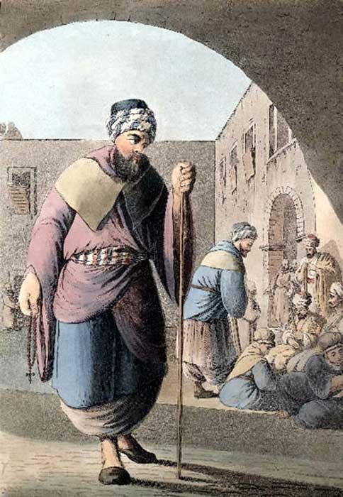Monje y peregrinos maronitas, Monte Líbano. (Dominio público)