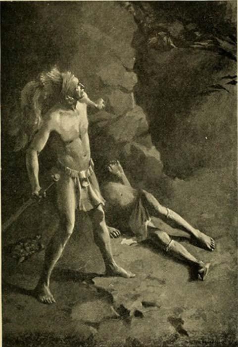 El héroe maya Hunahpu a punto de ser atacado por Camazotz. ( The Commons )