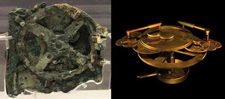 Izquierda: El mecanismo de Antikythera original (Wikipedia). Derecha: Reconstrucción del mecanismo (anthonyokeeffe.com).