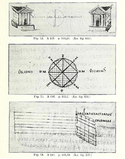 Las escrituras medievales muestran el trabajo del groma, que los investigadores usaron para comparar los nuevos hallazgos de la excavación, en particular, una cruz circular casi idéntica a la que se acaba de descubrir. (L. Ferro, G Magli, M. Osanna)