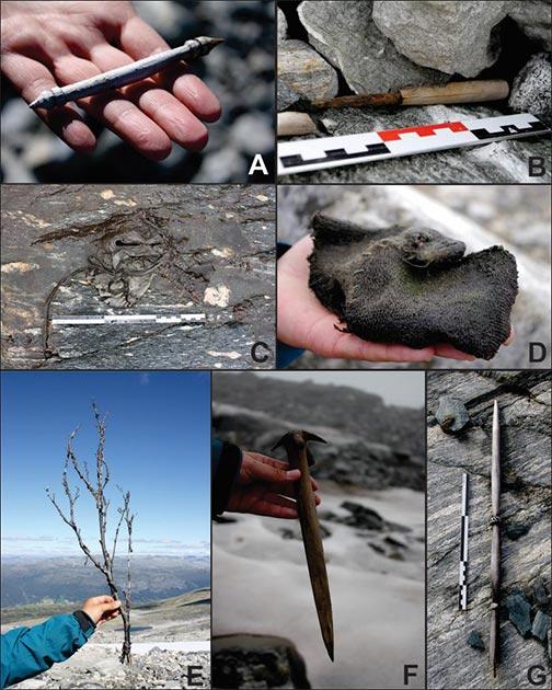 El glaciar derretido ha revelado los siguientes artefactos relacionados con la ropa y la vida cotidiana: A) ¿trozo de cabra o cordero ?; B) cuchillo; C) zapato; D) manopla; E) forraje foliar; F) batir y / o clavar; G) rueca? (Programa de arqueología glaciar y J. Wildhagen)