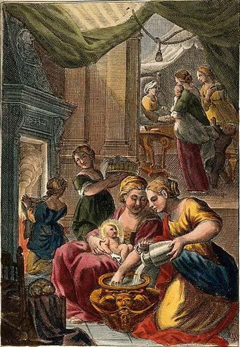 Una partera dando a la Virgen María su primer baño. Anna recibe la visita de simpatizantes que la felicitan por el nacimiento. Grabado de línea de color. (Imágenes de Bienvenida / CC BY 4.0)