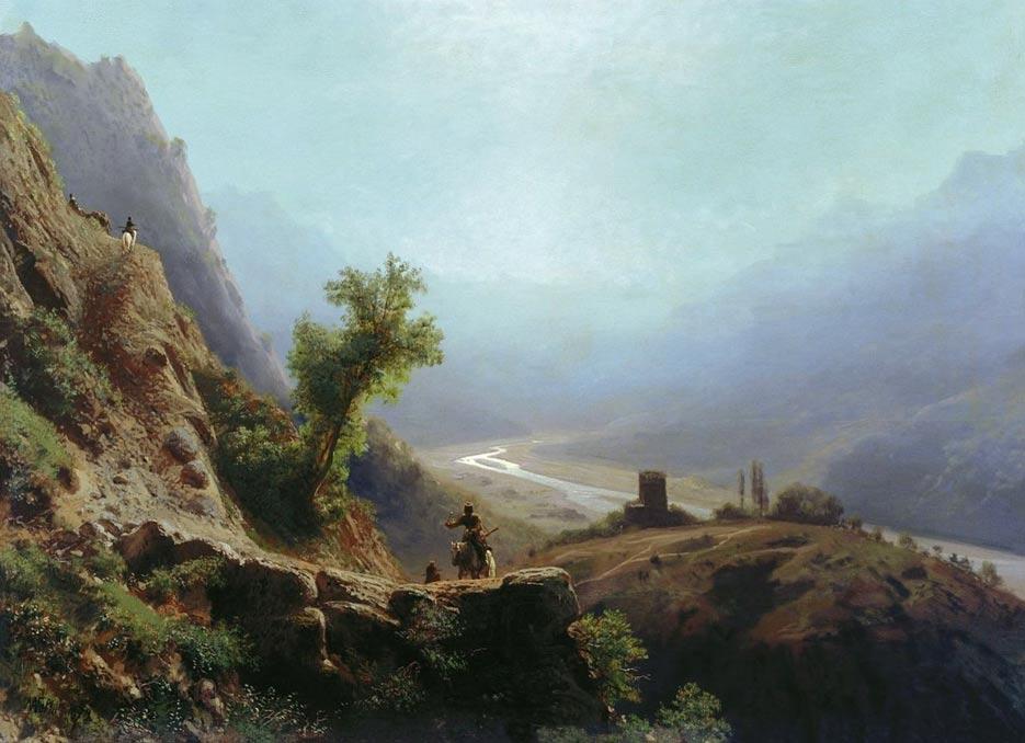 'En las montañas del Cáucaso, 1879', obra de Lev Feliksovich Lagorio (public domain)