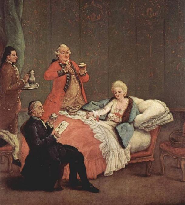 El chocolate pronto se convirtió en una bebida de moda de la nobleza después del descubrimiento de América. El chocolate de la mañana de Pietro Longhi ; Venecia, 1775-1780. Dominio publico