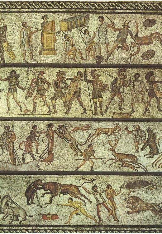 Este mosaico representa algunos de los entretenimientos que se habrían ofrecido en los juegos. Trípoli, Libia, siglo primero. (Dominio público)