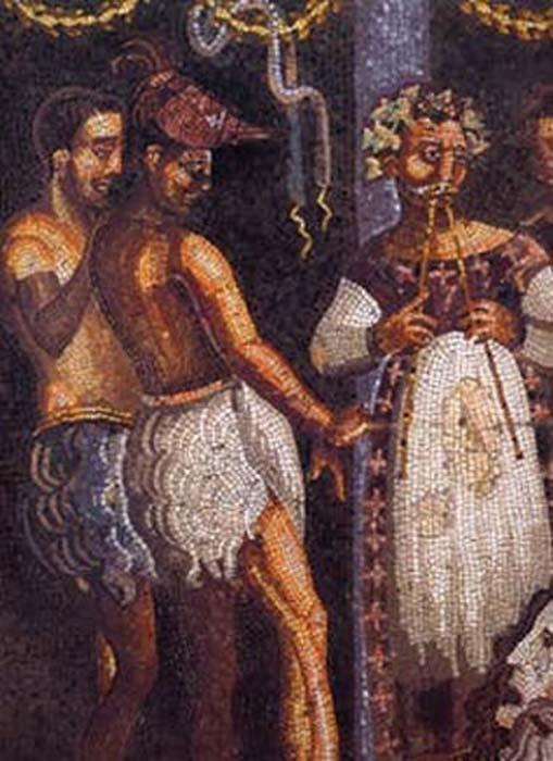 Mosaico romano con aulos jugador. ( Dominio publico )