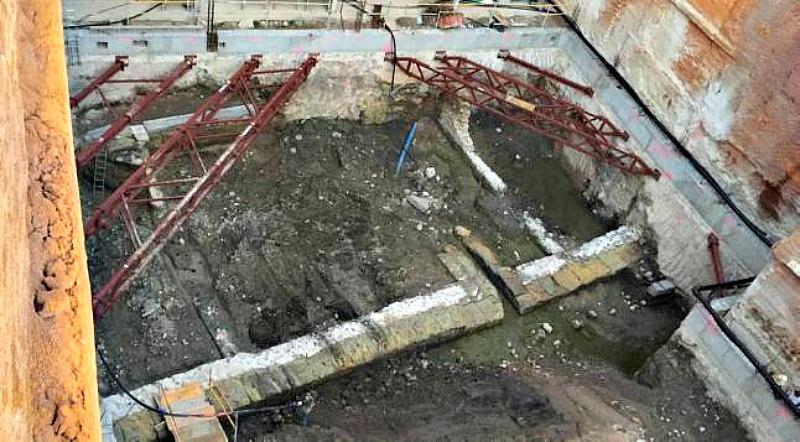 Fotografía de los antiguos muelles romanos recuperados gracias a las obras realizadas en Casa Llagostera (Fotografía: La Opinión de Murcia)