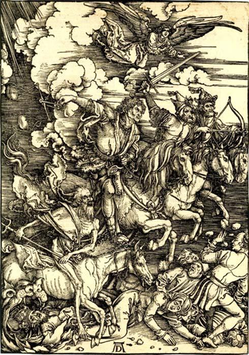 Xilografía de Albrecht Dürer de los Cuatro Jinetes del Apocalipsis. (Caballo pesado / Dominio público)