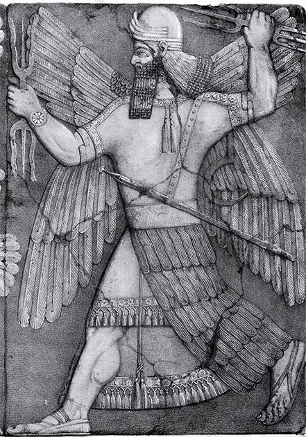 Ningirsu, también conocido como Ninurta, el antiguo dios de la guerra mesopotámica. (Katolophyromai / Dominio público)