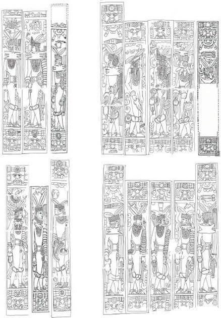 Los nobles de la dinastía Cocom representados en las paredes del Templo de los Jaguares. (Academia)