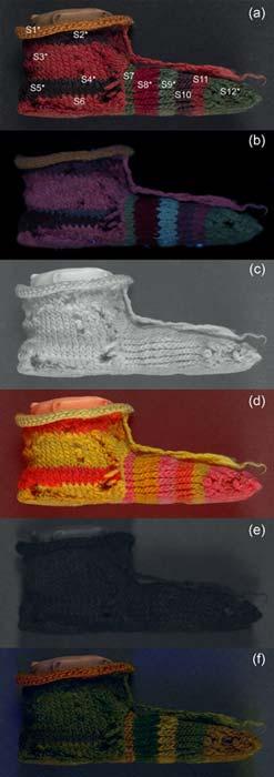 (a)Visible-reflejado (VIS); (b) luminiscencia visible inducida por UV (UVL); (c) Infrarrojo reflejado (IRR); (d) Color falso reflejado en infrarrojo (IRRFC); (e) UV reflejado (UVR); (f) Imágenes de color falso reflejado en UV (UVRFC) del calcetín a rayas de un niño (Crédito: Dyer et al., 2018)
