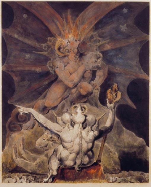 'El número de la bestia es 666' (1805) de William Blake. (Dominio público)
