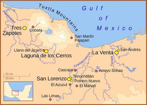 Sitios olmecas. (Madman2001 / CC BY-SA 3.0)