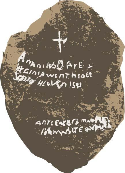 Una representación artística original de la Piedra Dare y la escritura en el frente. (Nesnad / CC BY 4.0)