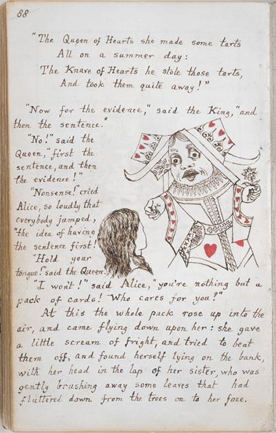 Página de la copia original del manuscrito de las aventuras de Alicia bajo tierra, 1864. (Andrew Gray / Dominio Publico)