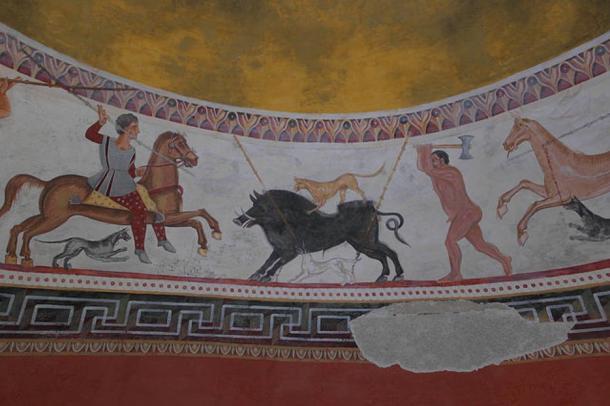 Las brillantes pinturas murales del interior de la tumba de Aleksandrovo, en la provincia de Haskovo, al Sudeste de Bulgaria. Imagen meramente ilustrativa. (KLMircea, Flickr/CC BY-SA 2.0)
