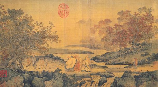 Pintura titulada: Tres hombres riendo junto al arroyo de los Tigres. Los tres hombres son Lu Xiujing, Tao Hongjing y Huiyuan (fundador del budismo de la Tierra Pura). (siglo XII) (Wikimedia Commons)