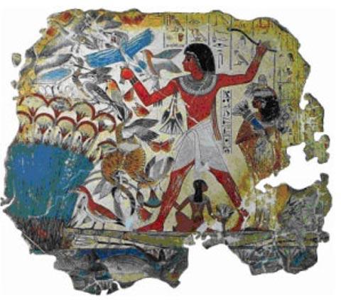Pintura egipcia con una presencia evidente del pigmento Azul Egipcio. 'Cazando en los marjales' (fragmento), tumba de Nebamun. Foto: Museo Británico