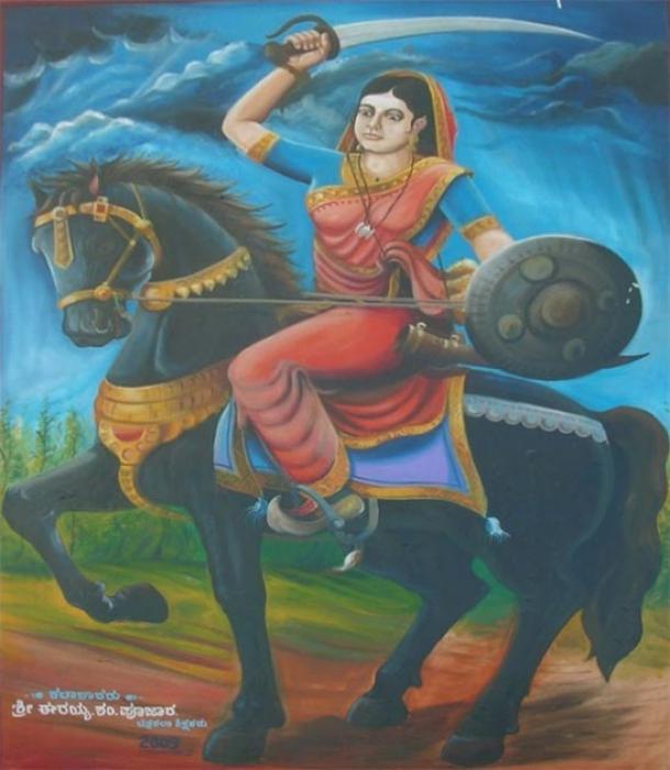 Pintura de la reina india Belawadi Mallamma por Shri. Erayya S Poojar en 2009. (Viajes de Karnataka)