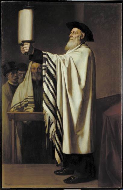 Esta pintura de 1860 de Édouard Moyse, titulada Presentación de la Torá, muestra el uso ritual de la Torá en las lecturas, conocida como parashá. (CC BY-SA 4.0)