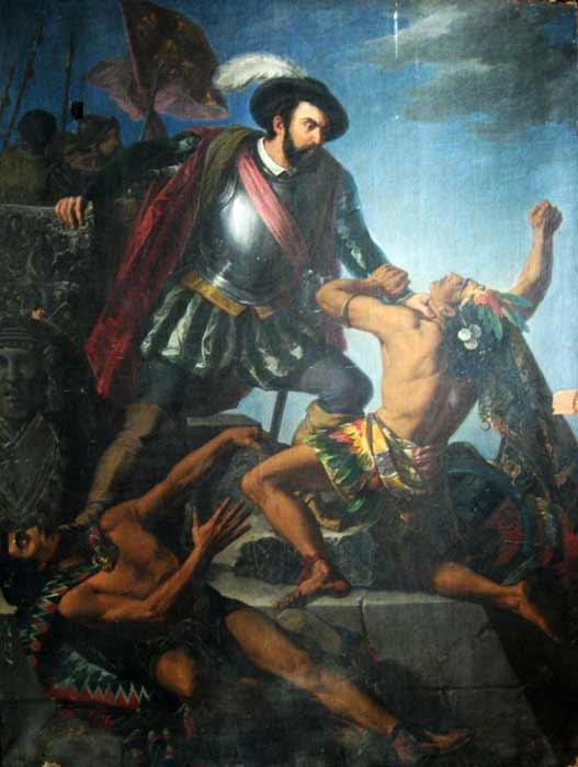 Cuadro de Hernán Cortés, quien asesinó al padre de Isabel y provocó la caída del pueblo azteca, engendró a uno de sus hijos. (Dominio publico)