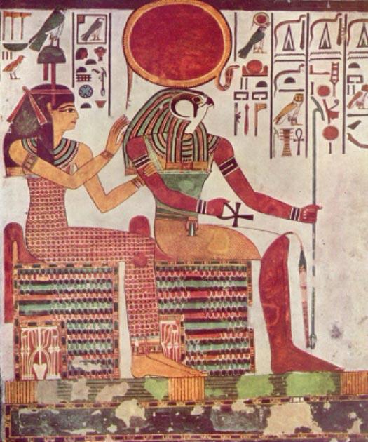 Pintura de Amentet junto al dios egipcio Ra desde la tumba funeraria de Nefertari (esposa de Ramses II / Dominio Publico)