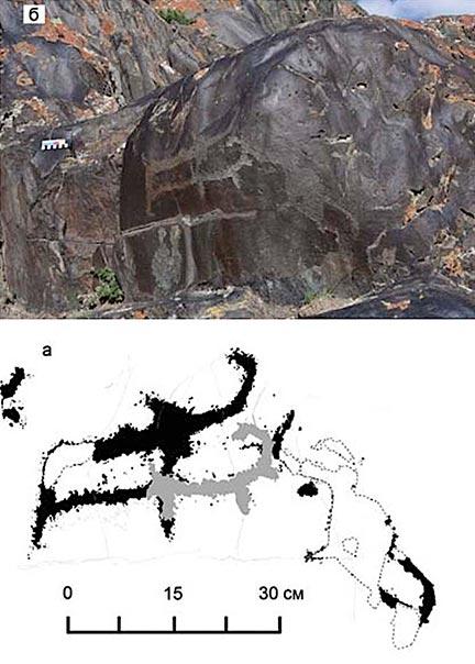 El arte rupestre paleolítico de dos mamuts descubiertos en Baga-Oygur II a principios de la década de 2000. (Dmitry Cheremisin et al. / Siberian Times)