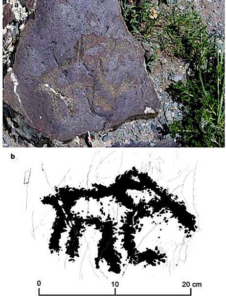 La imagen del arte rupestre paleolítico de la cría de mamut descubierta en Baga-Oygur III en 2017. (Dmitry Cheremisin et al. / Siberian Times)
