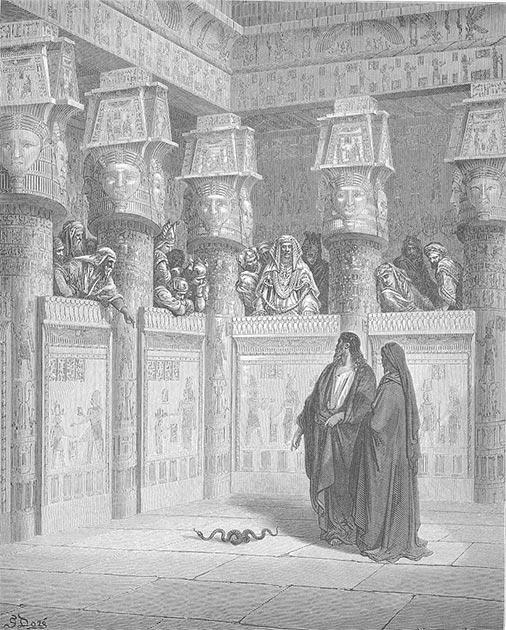 """""""Moisés y Aarón aparecen ante el faraón"""", Gustave Doré, """"Biblia en inglés de Doré"""", 1866. (Dominio público)"""
