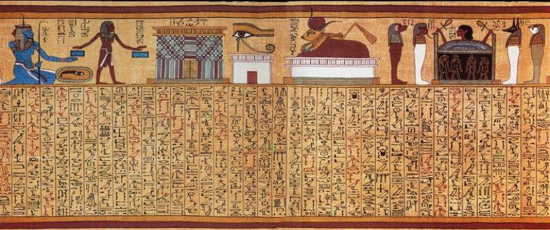 El místico Sortilegio 17 del Papiro de Ani, (c. 1275 a. C.) perteneciente al mágico Libro de los Muertos egipcio. La viñeta superior ilustra, de izquierda a derecha, al dios Heh como una representación del mar, una puerta de entrada al reino de Osiris, el Ojo de Horus, la vaca celestial Mehet-Weret y una cabeza humana emergiendo de un ataúd custodiado por los cuatro Hijos de Horus. Museo Británico de Londres, Inglaterra. (Public Domain)