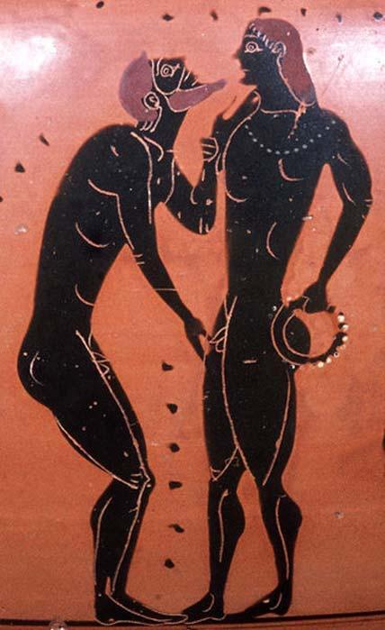 Escena pederástica: Erastés (amante) tocando barbilla y genitales de los erómenos (amado). Lado A de una ánfora de cuello de figura negra del ático, 540 a.C. (CC BY SA 3.0)