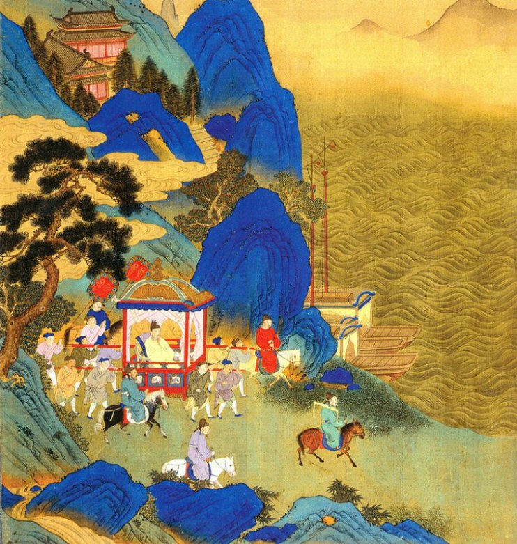 Como hijos del Cielo, los emperadores sentían el deber de acudir durante su reinado a las montañas sagradas para ofrecerles culto. En la imagen, travesía de Qin Shi Huang recorriendo su imperio. Ilustración del siglo XVIII. (Public Domain)