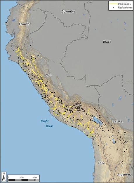 Los investigadores identificaron cada asentamiento colonial español sobre un mapa del sistema de carreteras imperiales incas, demostrando que los españoles dependían en gran medida de la infraestructura indígena para conquistar y reestructurar el Imperio Inca.