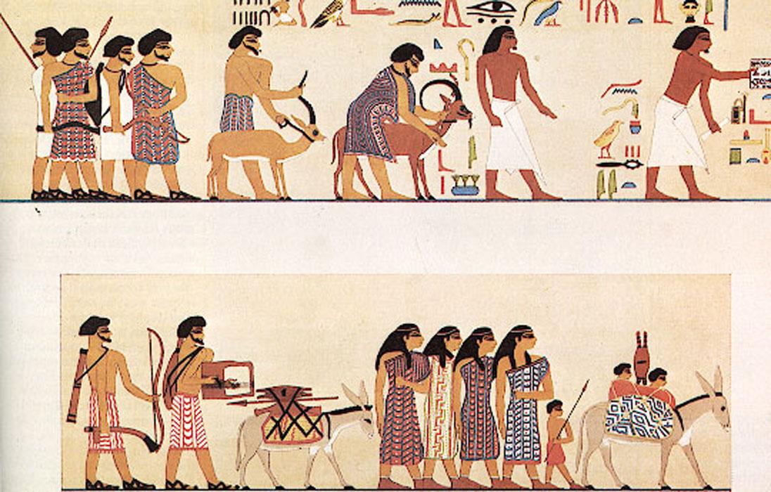Pintura de una tumba de la dinastía XII que parece mostrar en su panel superior dos cabras a punto de ser sacrificadas. (Public Domain)