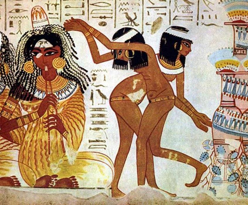 Mujeres del antiguo Egipto con kohl acentuando el contorno de sus ojos, pintura mural de una tumba de Tebas (1420 a. C. – 1375 a. C.). (Public Domain)