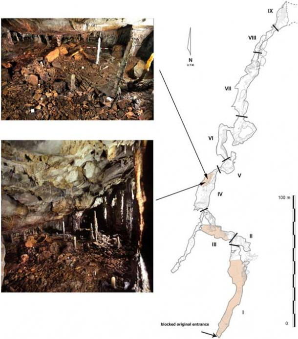 El plano anterior muestra la galería inferior del conjunto de cuevas de La Garma (derecha) y el interior de la cueva (izquierda). (Cueto, M. et. Al / PLOS ONE)