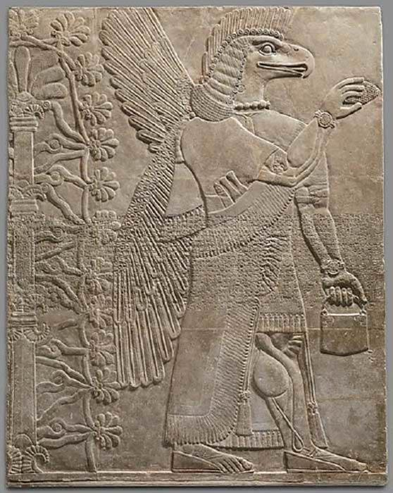 ¿Podría el misterioso bolso realmente representar el cosmos? Talla de relieve asiria de Nimrud, 883–859 a.C. (Museo Metropolitano de Arte)